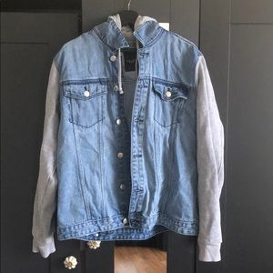 Mens Denim Jean Jacket w/ cotton hood and sleeves